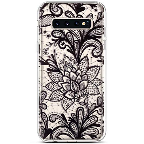 PHEZEN for Samsung Galaxy S10 Plus Case,Clear Soft Flexible TPU Silicone Case Rubber Skin with Art Painted Design Transparent Shockproof Bumper Protective Case for Galaxy S10 Plus, White Lace Flower