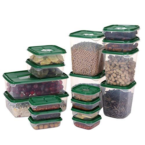 Mingtongli 17pcs / set Refrigerador envase de alimento plástico Microondas Caja de almacenamiento de alimentos almuerzo cocina Organizador, verde