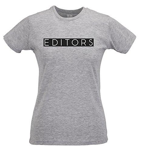 LaMAGLIERIA Damen-T-Shirt Slim Th Editors Rectangular Black Print - T-Shirt Rock 100% Baumwolle Ring Spun, M, Grau