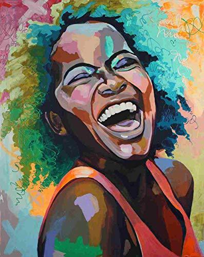 ganlanshu Cuadro En Lienzo Mujer Africana Arte de la Pared Imagen Decorativa decoración del hogar Sala de Estar sofá decoración de la pared70x85cmPintura sin Marco