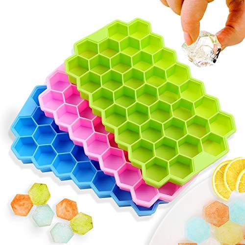 Vaschetta del ghiaccio con coperchio, 3 confezioni con un totale di 111 cubetti di ghiaccio, stampo per vaschetta del ghiaccio in silicone morbido per alimenti certificato LFGB