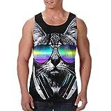 YongColer Mens 3D Graphic Printed Tank Top Cool Muscle Sleeveless Tees Gym Workout Shirt(Dj Cat with Earphone Pet Animal Black)