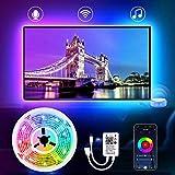 Striscia Led RGB per TV, ESHUNQI 2M Retroilluminazione TV LED, Impermeabile USB Strisce WiFi Luci Led per HDTV da 40-55 Pollici, 4x50cm, 8 Modalità 16 Milioni Colori, Compatibile con Alexa/Google Home