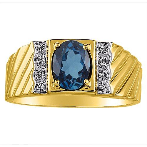 Mens Diamond & Simulado Azul Topacio anillo 14K oro amarillo o 14K oro blanco