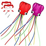 DASK Kites for Kids Easy to Fly 2 Pack Giant Octopus Kites with Long Tail 157 Inches Long Perfect Toy for Kids and Adults in This Beautiful Season (Red + Purple)