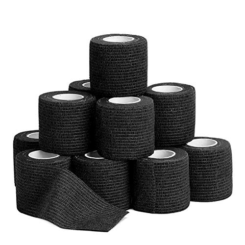 """12 Pack Self Adherent Cohesive Wrap Bandages - 2""""Wide, 5 Yards - All Sports Athletic Tape 