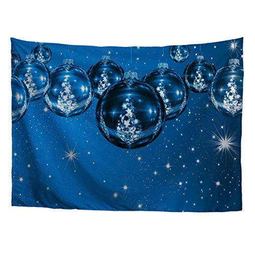 Tapestry Art Wall Hanging Merry Christmas Theme Blue Background Shiny Crystal Ball with Xmas Tree Handicraft Wall Blanket for House Adorn 60x40in(100x150cm)