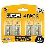 JCB Batteries 9 Volt (9V) Pack of 4 PP3 – MN1604 – 6LR61 – 6LF22 9V Super Alkaline Batteries ideal <span class='highlight'>for</span>: Toys/Remote controls/Radio's/<span class='highlight'>Smoke</span> Detectors/<span class='highlight'>Smoke</span> <span class='highlight'>Alarm</span>s