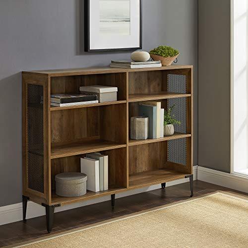 Walker Edison 3 Tier Industrial Wood and Metal Mesh Bookcase Bookshelf Home Office Storage Cabinet, 52 Inch, Reclaimed Barnwood Brown