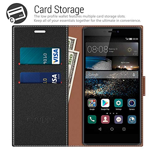 COODIO Handyhülle für Huawei P8 Handy Hülle, Huawei P8 Hülle Leder Handytasche für Huawei P8 Klapphülle Tasche, Schwarz/Rot - 3