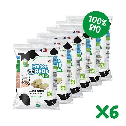 FRANCE BéBé BIO - Biscuits Bio - Mini Galette de Riz - Nappée Yaourt - Sans Gluten - Goûter pour Bébés dès 7 mois 40 g - Lot de 6