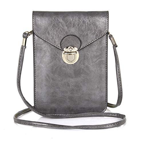 SZCINSEN Bolso cruzado para teléfono celular, bolso cruzado para mujer, funda para teléfono celular (color gris)