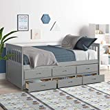 Twin Captain Bed with Trundle and Drawers,3-in-one Solid Wood Daybed with Storage for Kids Guests (Grey), Gray
