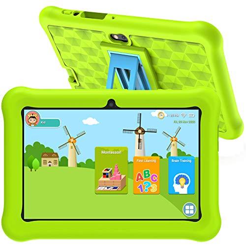 Tablet Niños WiFi Android 10 Certificado Google 7 pulgadas Tablet con 2GB RAM 32GB ROM para juegos educativos.