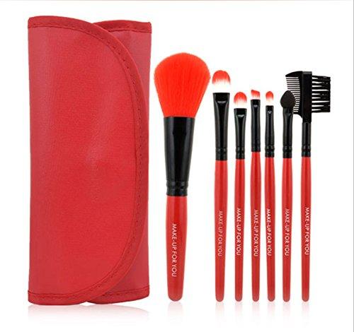 CAOLATOR Ensemble d'outils de maquillage Ombre à paupières brosse à sourcils pinceau eye liner pinceau de maquillage pour les maquilleurs et également amateurs 10PCS Porte-maquillage pinceau (Rouge)