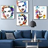 HUANGXLL Estrella de Cine nórdica Audrey Hepburn póster Imprime Acuarela Arte de Pared Lienzo Pintura Imagen para Dormitorio Sala de Estar decoración del hogar-40x40cmx4 sin Marco