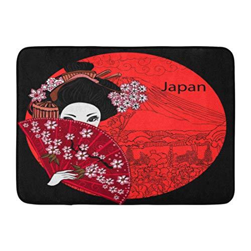 Emvency Doormats Bath Rugs Outdoor/Indoor Door Mat Japan Geisha Japanese Woman Kimono Asian Beautiful Billboard Black Bathroom Decor Rug Bath Mat 16' x 24'