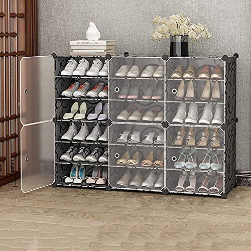 YQCX Zapatero,Gabinete de Zapatos Modulares de 6 Niveles, Estantes de Alenamiento de Zapatos Independientes de 36 Pares Apilables con Estanterías Ajustables Y Puerta Transparente pa
