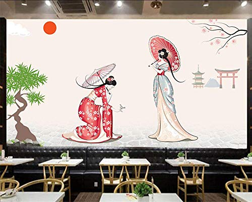 Papel pintado dormitorio vintage infantil 3D Simple fresco estilo japonés kimono mujer TV fondo pared salón dormitorio mural papel tapiz