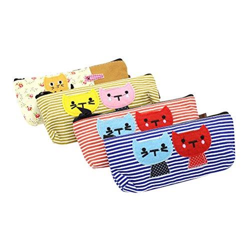 nuolux Federmäppchen Pen Tasche Lovely Cartoon Katzen bedruckt großes Fassungsvermögen Stationery Kosmetiktaschen Reißverschluss Tasche Geldbörse 4