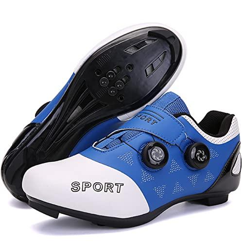 ASORT Zapatillas de Ciclismo Hombre Mujer Carretera SPD Bike Zapatillas de Ciclismo Cordón de Zapatos Compatible con Los Pedales Look Delta con Tacos Delta,Blue-41EU