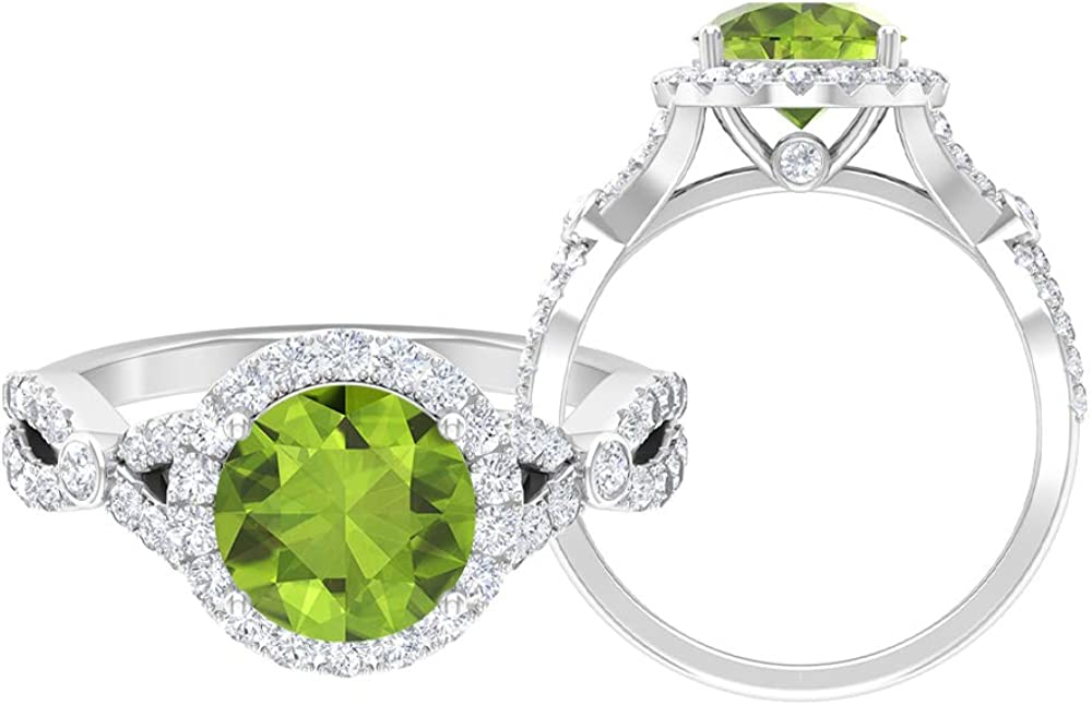 Solitaire Halo Engagement Ring, 2.67 CT Round Gemstones, D-VSSI Moissanite 8 MM Peridot Gold Wedding Ring, Crown Setting Ring, Spiral Shank Ring, 14K Gold