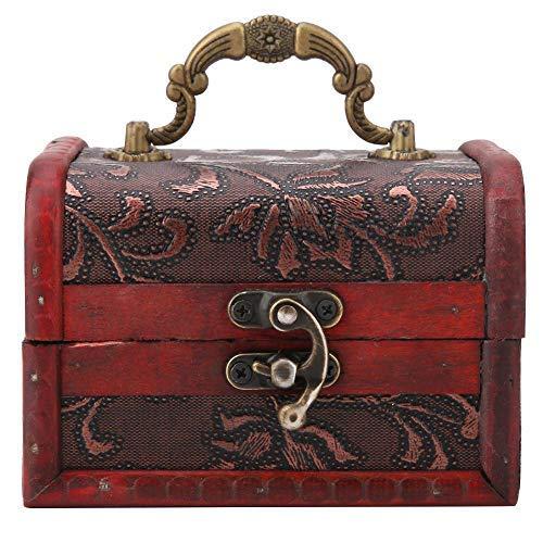 12 x 8 x 8 cm Mini Aufbewahrungsbox aus Holz, Süßigkeiten-Behälter für Halsketten, Vintage-Stil, europäischer Stil
