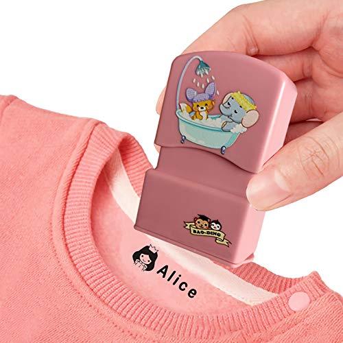 Timbro Personalizzata Per Vestiti Il Nome Timbri Del Bambino Fai Da Te Per Bambini Nomi Studente Timbro Non Facile Da Sbiadire Etichette (Ragazza Rosa)