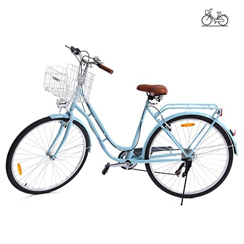 Paneltech Bicicletta Donna Uomo Citta Bicicletta Bici Citybike 7 velocità con Luce Anteriore e Luce Posteriore e cestello (Blu)