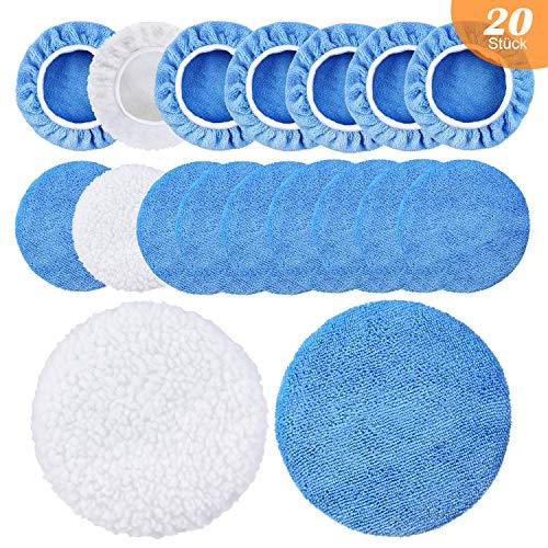 recyco Polierhauben 20 Stück, Mikrofaser Polierschwamm Set für Poliergerät (5 Zoll-6 Zoll)