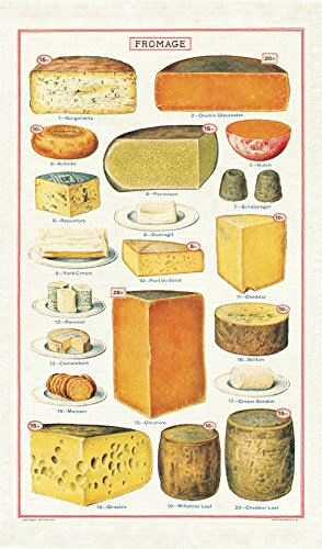Vintage Style Tea Towel (20 cheeses pictured)