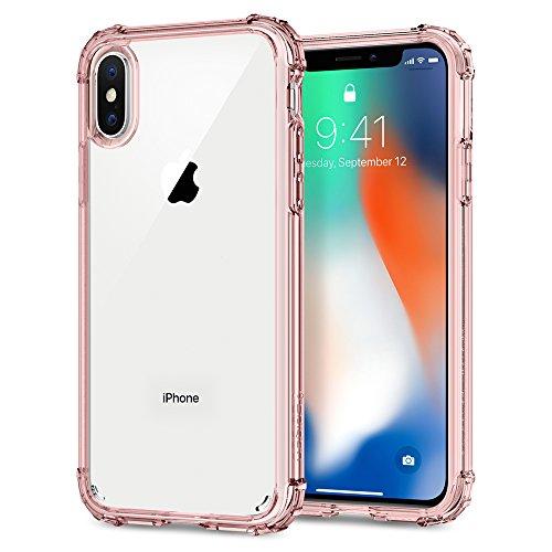 Spigen Funda iPhone X, [Crystal Shell] Panel Trasero Transparente y Esquinas reforzadas en Parachoques TPU para iPhone X (2017) 2017 [Crystal Rosado]