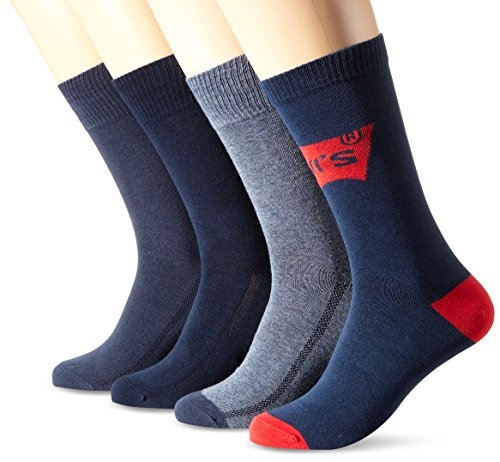 Levi's Herren LEVIS AW18 GIFTBOX REGULAR CUT 4P Socken, Mehrfarbig (Blue Combo 516), 43/46 (4er Pack)