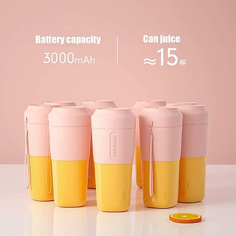 Blender Portable Mini USB rechargeable Juicer Ménage Petit Juicer électrique de mélange Coupe for les sports, plein air, maison, bureau, blanc ggsm (Color : Pink) Blue