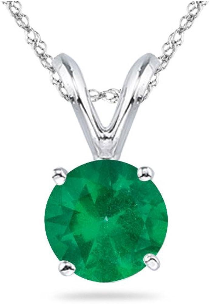 新作アイテム毎日更新 Natural 割引 Round Emerald Solitaire Pendant AA White in 14K Quality