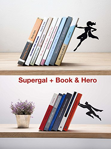 Artori Design   Supergal & Book Hero   Power Couple Bookends Gift Set   Superhero Gifts   Anniversary Gifts  Feminist Gifts   Gifts for Geeks   Gifts for Comic Fans   Housewarming Gift