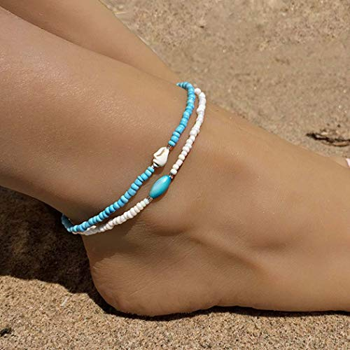 Genbree Boho Beaded Anklets Layered Shell Anklet Bracelet Blue White Stretchy Elastic Foot String Jewelry for Women and Girls