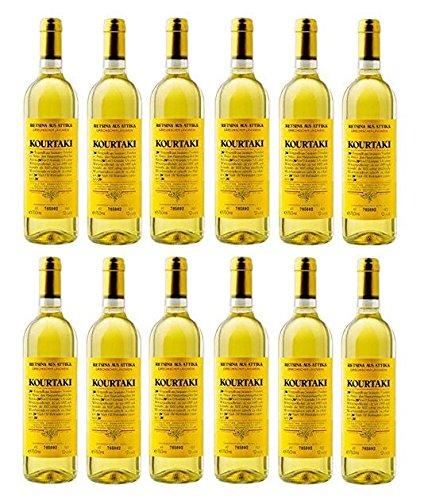 12x 750 ml Retsina Kourtaki Spar Set 12% gehartzter Weißwein Weiß Wein aus Griechenland Attika Savatiano
