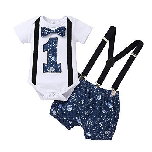 YQYJA 1 años de edad, ropa de una letra impresa pajarita mameluco cielo estrellado correa de hombro pantalones cortos 2 piezas traje