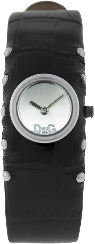 Dolce & gabbana, orologio da donna, cassa in acciaio colore argento, e cinturino in vera pelle DW0351