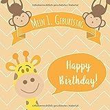 Mein 1. Geburtstag: Gästebuch zum Eintragen - schöne Erinnerung an den 1. Geburtstag für Junge & Mädchen im Format: ca. 21 x 21 cm, mit 100 Seiten für ... der Geburtstagsgäste, Cover: Giraffe Safari