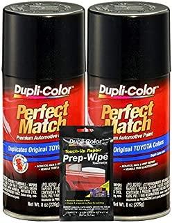 Dupli-Color Black Sand Pearl Exact-Match Automotive Paint for Toyota Vehicles - 8 oz, Bundles Prep Wipe (3 Items)