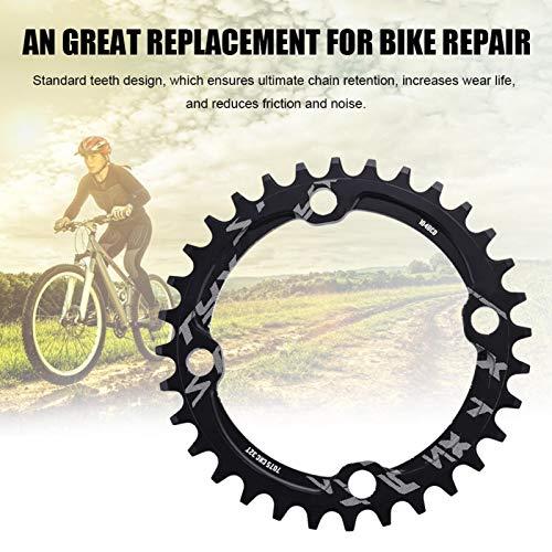 Wosune Anillo de Cadena Simple de Bicicleta, Anillo de Cadena de Acero Anillo de Cadena de manivela única, Cadena de(Black, 32T)