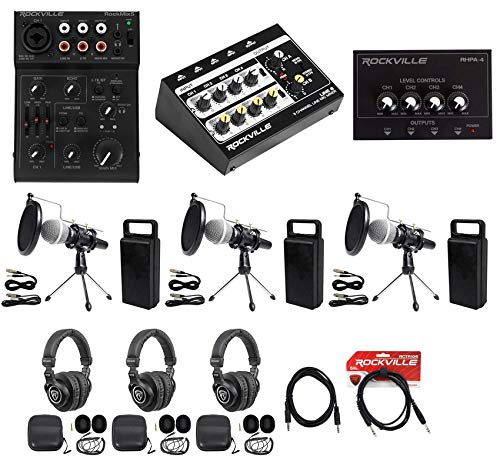Rockville 3-Person Podcast Podcasting Recording Kit