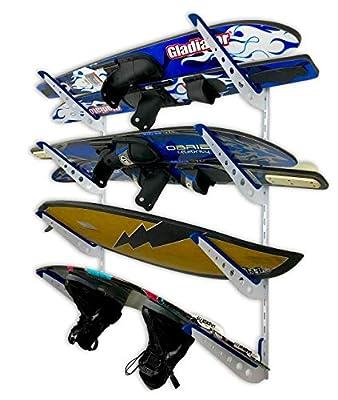 StoreYourBoard Adjustable Water Ski Wall Storage Rack, Holds 4 Sets of Skis, Garage Home Boathouse Organizer