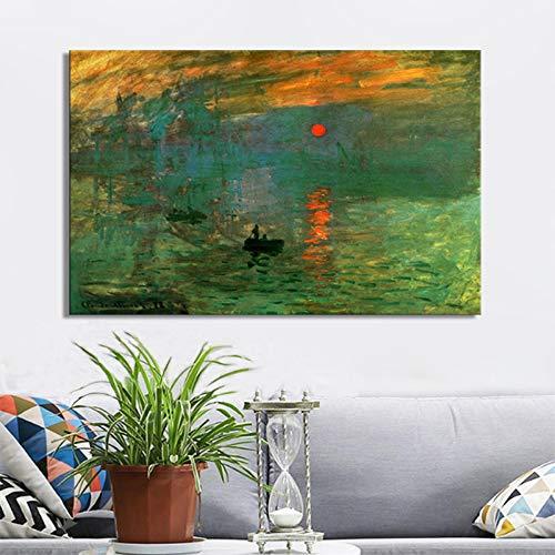 mmwin Impresión de Claude Monet Amanecer Carteles e Impresiones en Lienzo Arte de la Pared Pintura Pintura clásica Famosa para la decoración de la Sala de Estar Q 90x60cm
