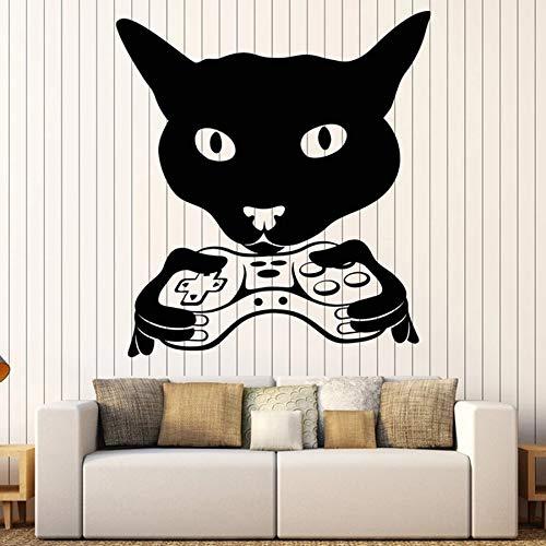 Tianpengyuanshuai Cabeza de Gato Etiqueta de la Pared Sala de Videojuegos Dormitorio Infantil decoración Infantil Vinilo Adhesivo Mural 68X74cm