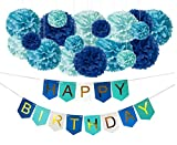DIY Blue Birthday Decorations - Happy B-Day Party Banner Sign and DIY...