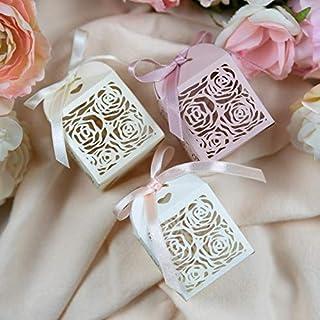 50 pezzi Matrimonio dolci scatole regalo favore Wedding Bomboniere Carta Incluso Nastrino Bomboniere Regalo Segnaposti Dec...