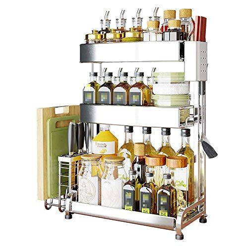 Home Equipment Spice Rack Spice Rack 3-Tier Detachable Seasoning Storage Shelves Metal Herb Condiments Rack Jar Can Bottle Holder With 4 Non-slip Rack Foot Pad For Home Kitchen Organizer- Black Kit